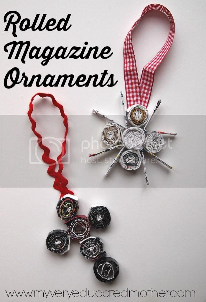 Rolled Magazine Ornaments #CraftLightning #NUO2014 #recycledcrafts
