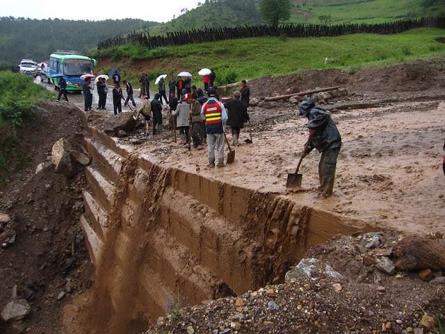 Mudslide, somewhere outside of Jiulong, Yunnan