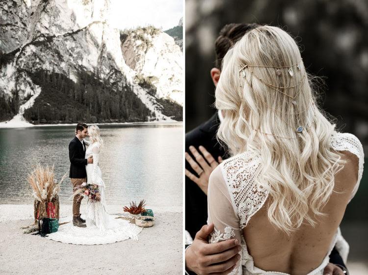 Blick auf das wunderschöne Stein-Kopfbedeckung und dem offenen Rücken des Kleides