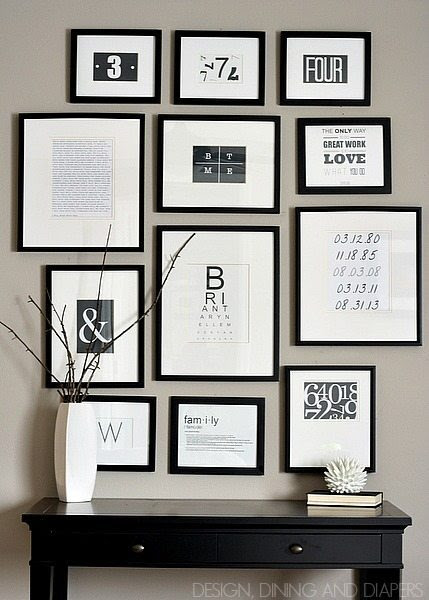 Black and white typography gallery wall from Design, Dining, and Diapers #gallerywall #decorating #decoratingideas