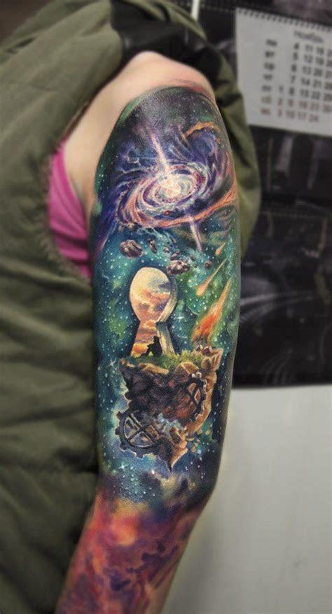 colorful sleeve tattoos cheat eye viewer