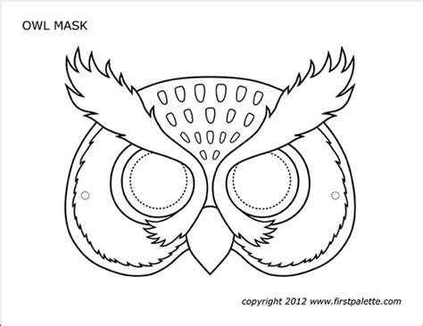 owl mask  printable templates coloring pages
