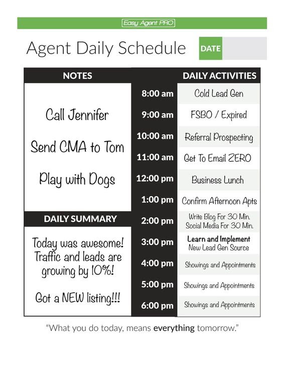 The real estate daily planner we like to use here at Easy Agent ...