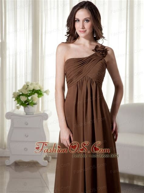 One Shoulder Floor length Chiffon Empire Ruched Prom Dress