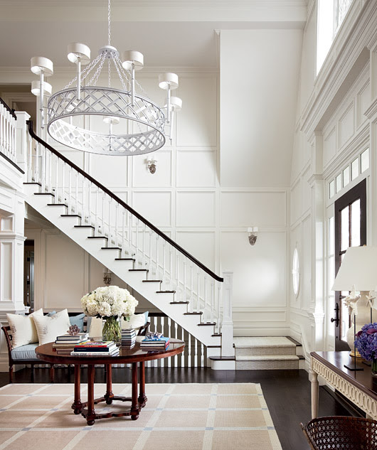 Suzie: Architectural Digest - Alexa Hampton - Amazing two story foyer with round foyer table, ...