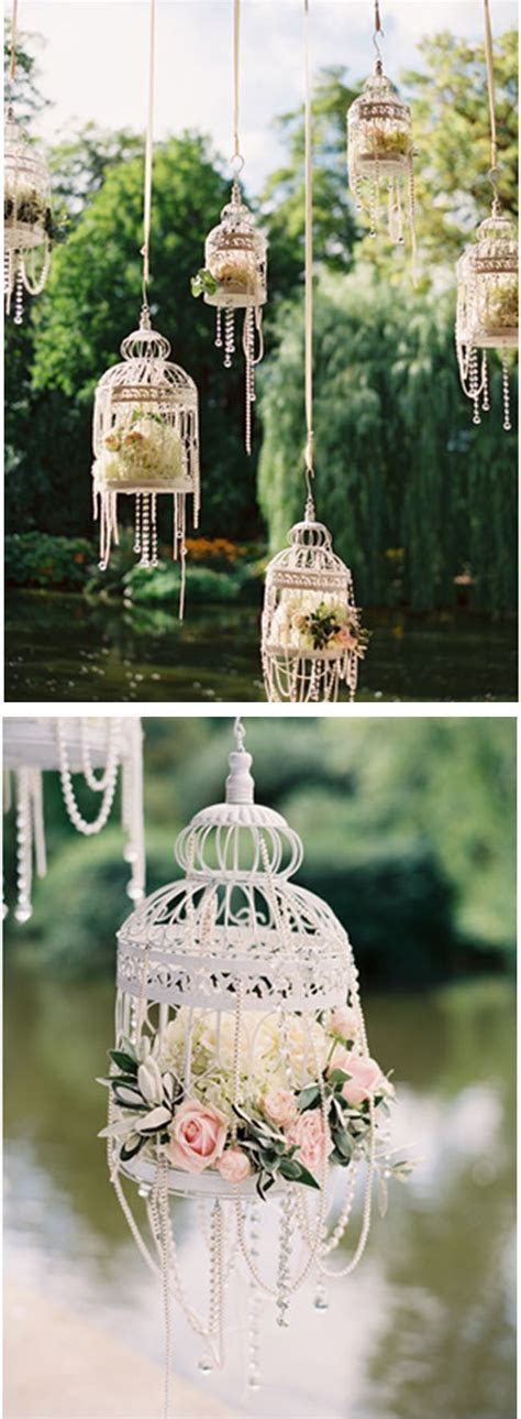 White bird cages, flowers & pearls: So pretty for an