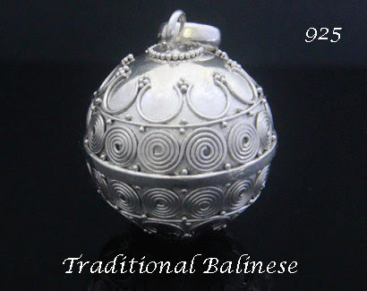 """Sterling Silver Harmony Ball with Traditional Balinese Motifs on the 925 Silver Ball 