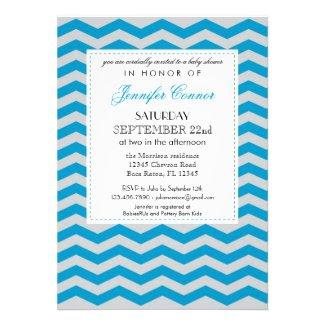 Elegant Chevron Baby Shower Blue Invitation