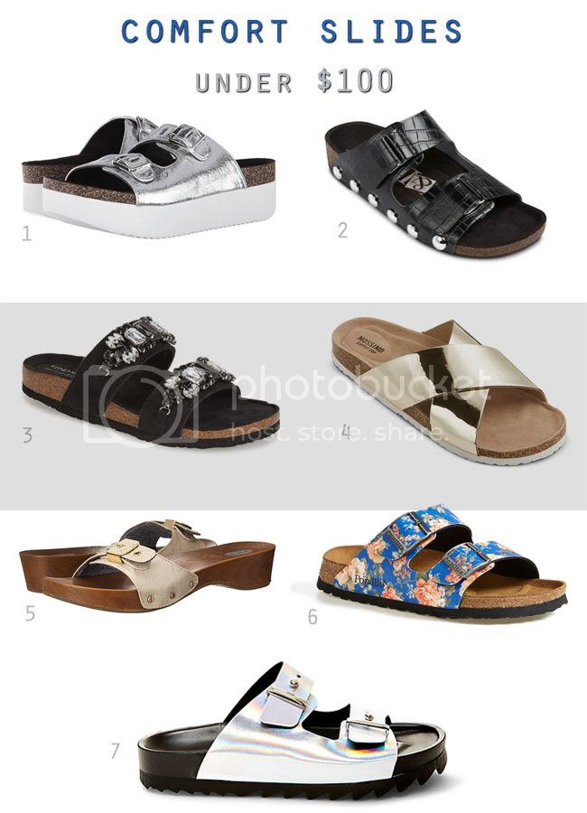 Footbed and comfort sandals for summer 2015 under $100, floral Birkenstock Arizona sandals, Sam & Libby Ashland sandals