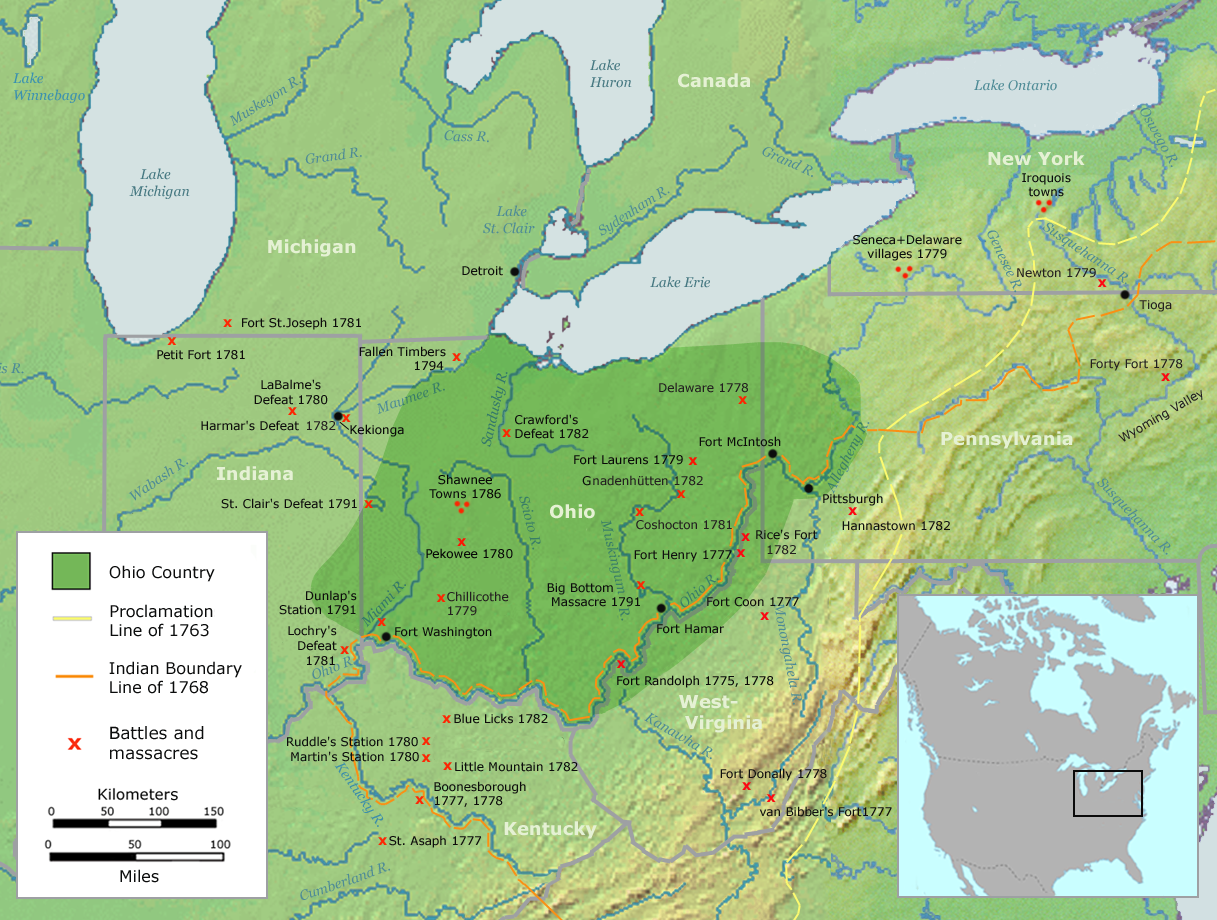 El territorio del Ohio abarcaba el actual estado de Ohio y parte de los de Pensilvania, Virginia Occidental e Indiana.