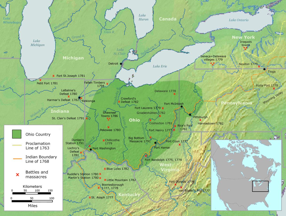 El territorio del Ohio abarcaba el actual estado de Ohio y parte de los de Pensilvania, Virginia Occidental e Indiana.