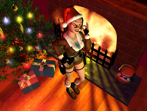 Lara Croft with Santa Claus hat