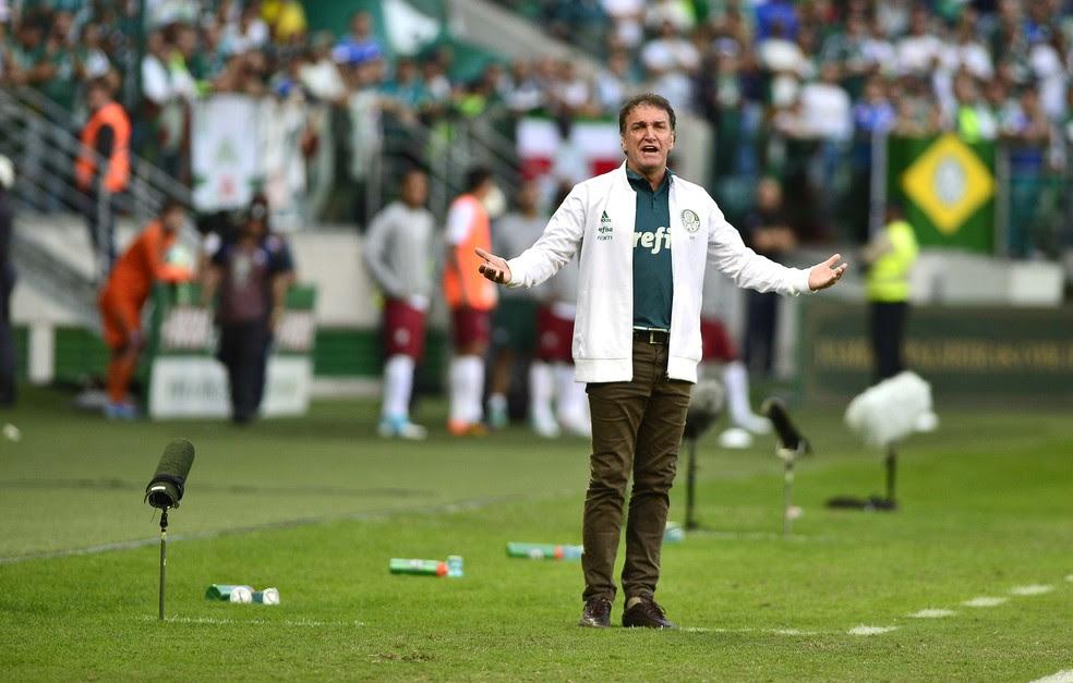 Cuca saiu da Arena Palmeiras aliviado após o triunfo sobre o Fluminense (Foto: Marcos Ribolli)