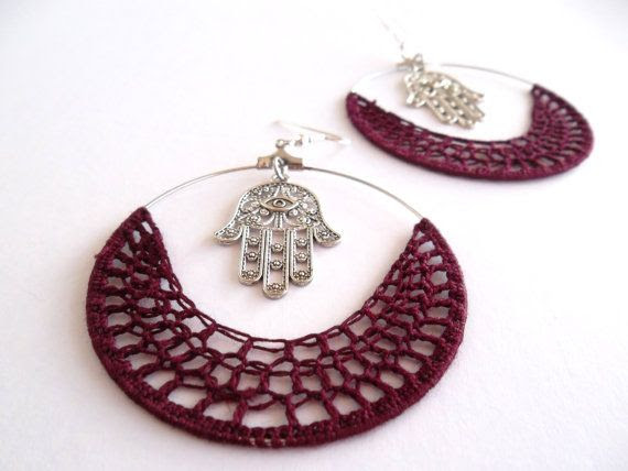Lucky Hand of Fatima Crochet Hoops Burgundy by Myhandmadepassion, $18.90