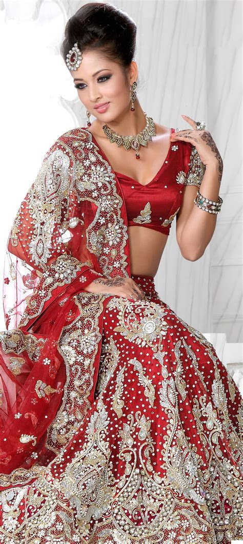 83365: Red and Maroon color family Bridal Lehenga,Wedding