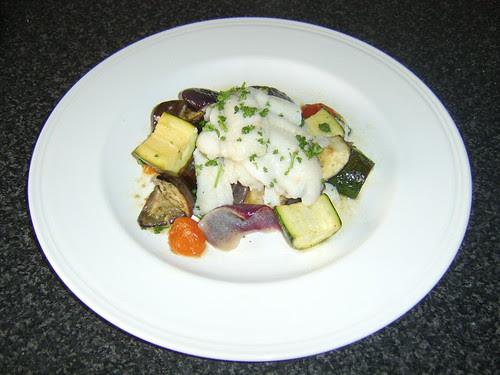 Lemon Sole on Roasted Mediterranean Vegetables