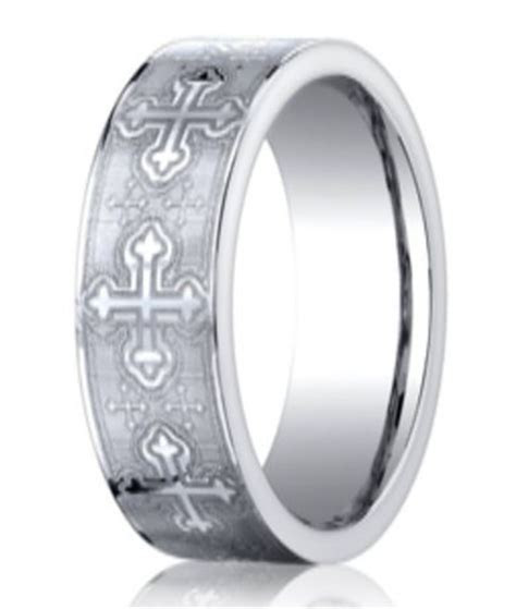 Designer Cobalt Christian Wedding Band with Crosses