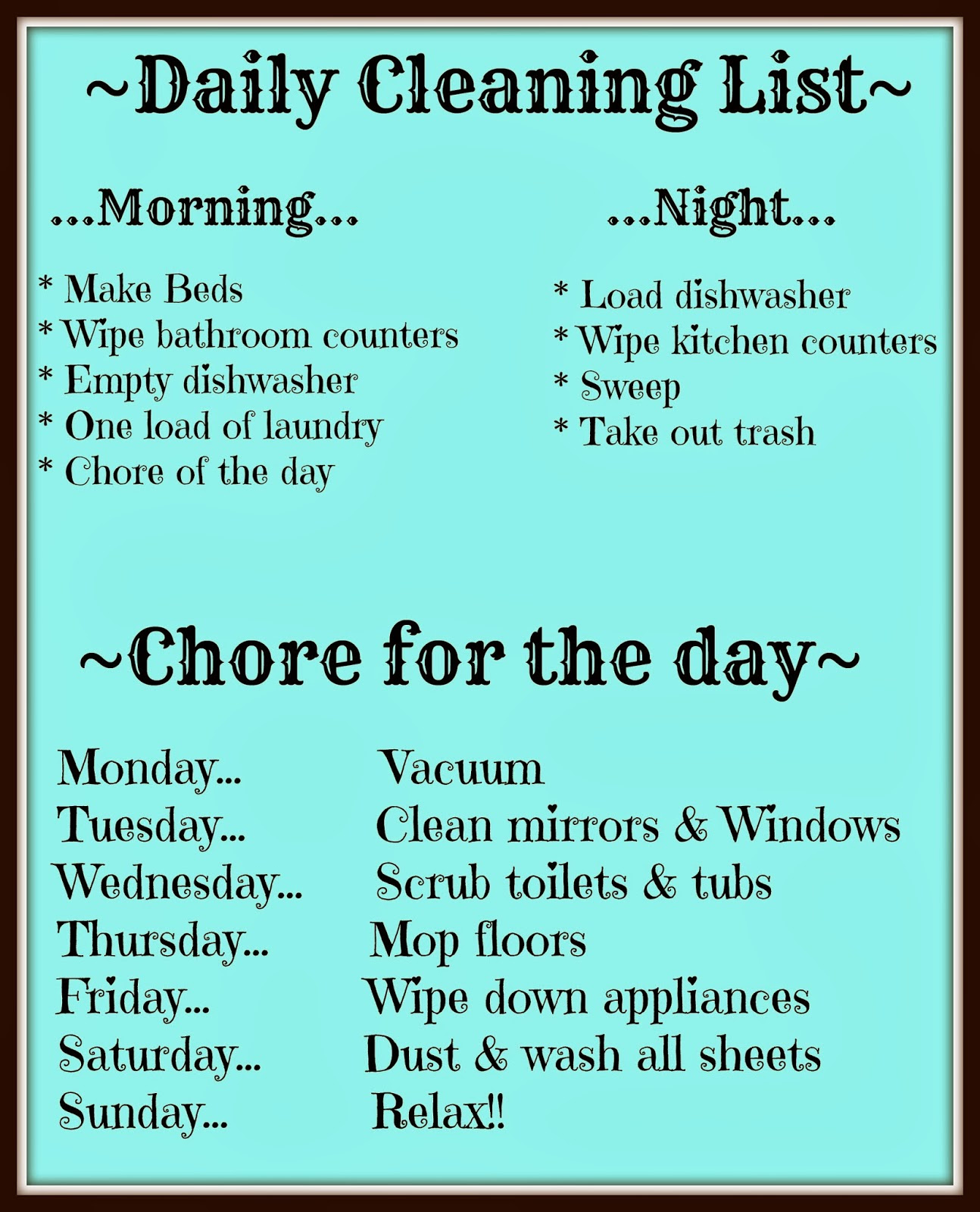 Working Mom Cleaning Schedule Printable - Apk Downloader