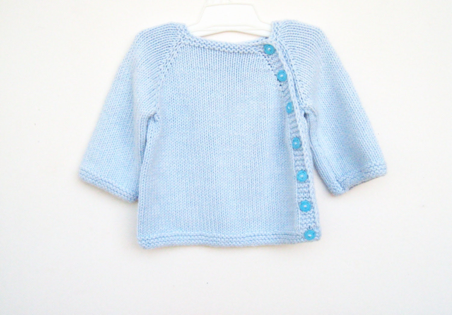 Bamboo newborn sweater. Blue baby sweater, newborn gift, very soft. Puerperium Cardigan. Made to order. - ATLASKNITSHOP