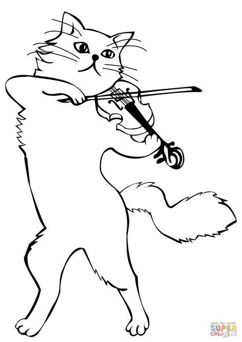 cat playing  violin coloring page  printable