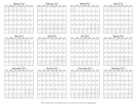 Annual Calendars - Excel and PDF Format
