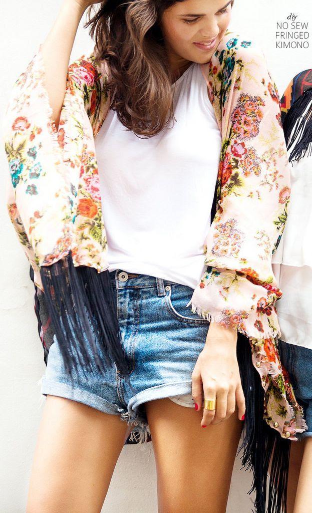 Diy Multi Floral Fringe Kimono