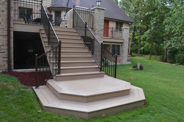 Azek composite wood deck with brick columns in Homer Glen ...