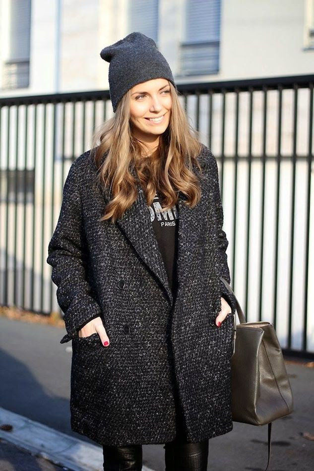 Le Fashion Blog Beanie Weather Vanja Milicevic Loose Curls Fresh Face Tweed Coat Sweatshirt Tote Bag Leather Pants photo Le-Fashion-Blog-Beanie-Weather-Vanja-Milicevic-Loose-Curls-Fresh-Face-Tweed-Coat-Sweatshirt-Tote-Bag-Leather-Pants.jpg