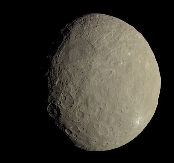 Using data from the Dawn spacecraft's first science orbit in 2015, this image of Ceres approximates how the dwarf planet's colors would appear to the human eye.