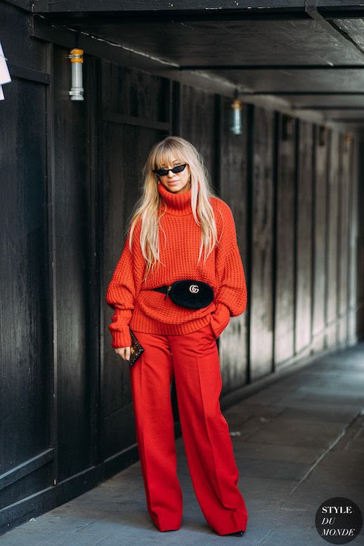 Le Fashion Blog Fashion Week Street Style Monochromatic Micro Sunglasses Red Turtleneck Sweater Gucci Belt Bag Red Trousers Via Style Du Monde