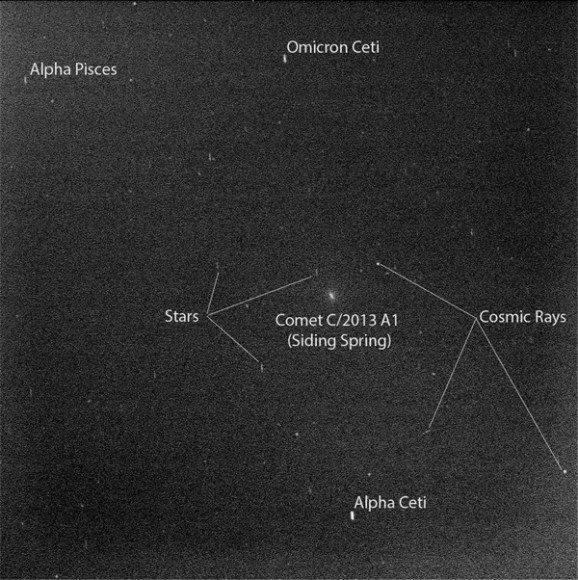 Annotated photo of Comet Siding Spring taken by the Opportunity Rover on October 19 when near closest approach. Credit: NASA/JPL-Caltech/Cornell Univ./ASU/TAMU