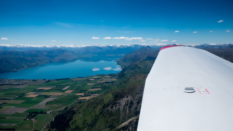 Flying over Lake Hawea