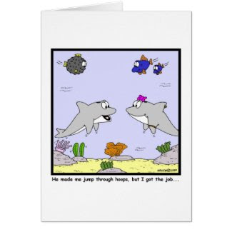 Job Interview: Dolphin cartoon Greeting Card