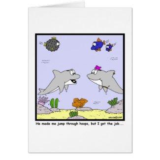 Job Interview: Dolphin cartoon Greeting Card