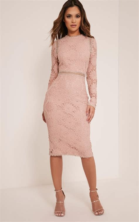 Caris Dusty Pink Long Sleeve Lace Bodycon Dress   dresses