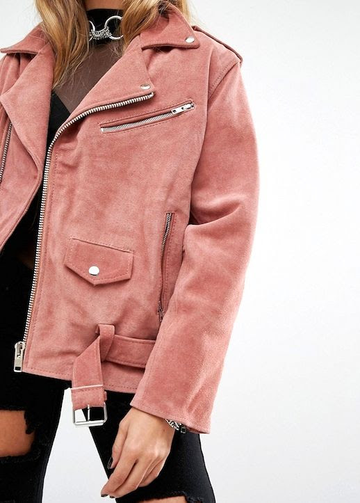 Le Fashion Blog Fall Style Dusty Pink Belted Suede Leather Moto Jacket Silver Hoop Necklace Black Sheer Top Ripped Jeans Via ASOS