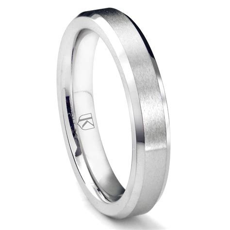Cobalt XF Chrome 4MM Brush Center Beveled Wedding Band Ring