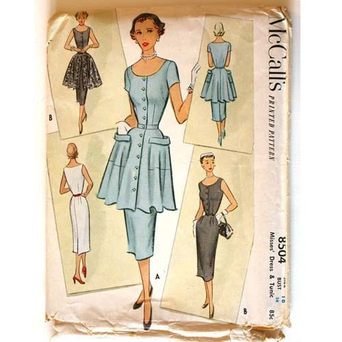 Vintage 1950s Tunic and Dress Pattern