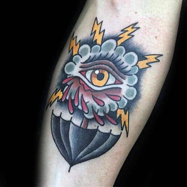 60 Thunderstorm Tattoo Designs For Men Weather Ink Ideas