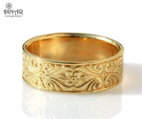 18k solid gold Vintage Design, Wedding Band ,Engraved