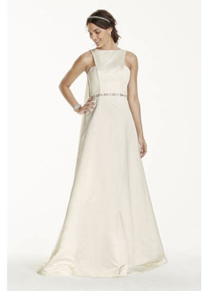 Extra Length Cut Out Tank Gown with Watteau Train   Davids