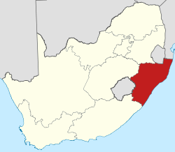 Map showing the location of KwaZulu-Natal in the south-eastern part of South Africa