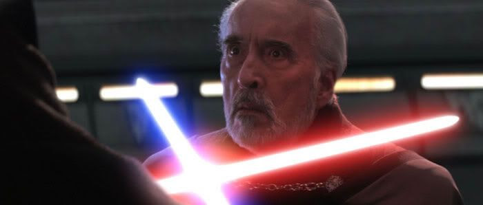 Count Dooku giving a 'worried' look just as Anakin is about to use his and Dooku's saber to behead the Sith Apprentice.