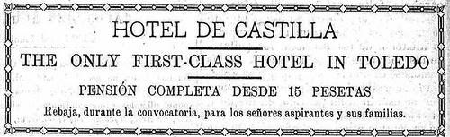 Publicidad del Hotel Castilla de Toledo en 1910