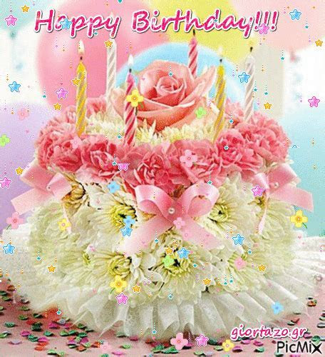 Pastel Floral Happy Birthday Cake Gif Pictures, Photos