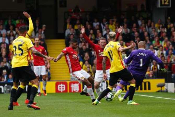 Etienne Capoue put the hosts in front in the first half, before Marcus Rashford capitalised on a loose ball to equalise.