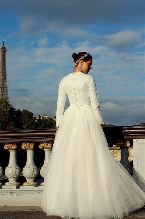 Sasha Tznius Two Piece Lace & Tulle Modest Wedding Dress