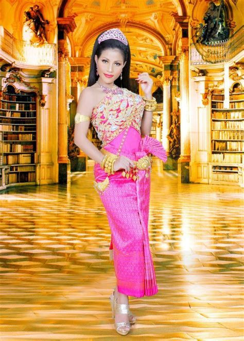 traditional Cambodian wedding dress. love the color too