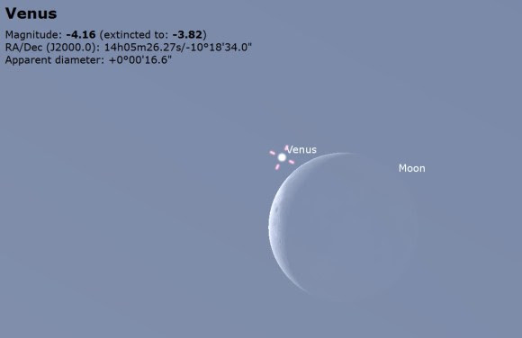 Venus near the daytime Moon as seen from Tampa, Florida at noon on December 7th. Image credit: Stellarium