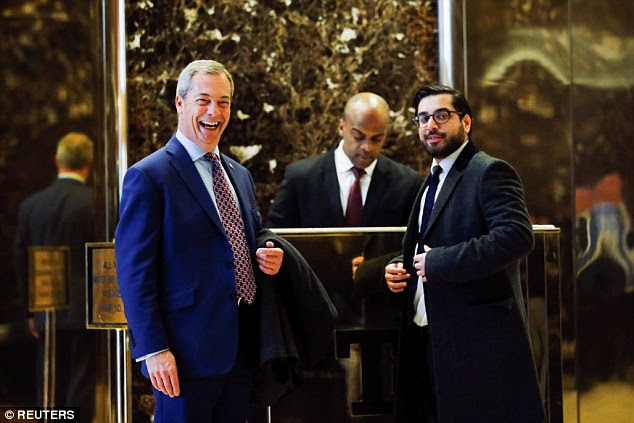Pictured, Mr Farge shares a joke with his Mr Kassam as they visit the President-elect's team at Trump Tower in New York